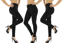 3 Pack Of Womens Leggings Black Heavy Fleece Winter Seamless By Wsd (2 Pairs Black, Med/large)