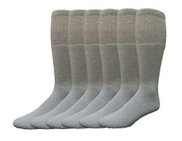 Yacht & Smith Men's Cotton Tube Socks, Referee Style, Size 10-13 Solid Gray 6 pack