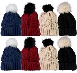 Socksnbulk Value Pack Of Winter Beanie With Pom Pom, Assorted (8 Pack Solids With Faux Fur)