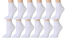 Yacht & Smith Kids Cotton Quarter Ankle Socks In White Size 4-6 12 pack