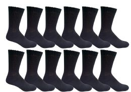 Yacht & Smith Men's Loose Fit Non-Binding Soft Cotton Diabetic Crew Socks Size 10-13 Black 6 pack
