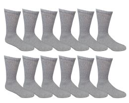 Yacht & Smith Men's Loose Fit NoN-Binding Soft Cotton Diabetic Crew Socks Size 10-13 Gray 6 pack