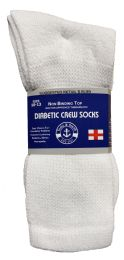 Yacht & Smith Men's Loose Fit Non-Binding Soft Cotton Diabetic Crew Socks Size 10-13 White 6 pack