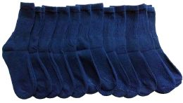 Yacht & Smith Men's Loose Fit Non-Binding Soft Cotton Diabetic Crew Socks Size 10-13 Navy 12 pack