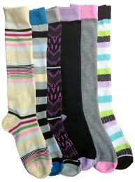6 Pairs Of Mod And Tone Woman Designer Knee High Socks, Boot Socks (pack b) 6 pack