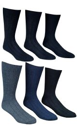 6 Pairs Of Socksnbulk Mens Winter Wool Socks With Cable Knit Design (1506),10-13 Black,grey,blue 6 pack