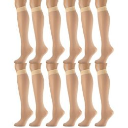 Yacht & Smith Women's Trouser Socks , 20 Denier Knee High Dress Socks Tan 12 pack