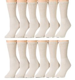 Yacht & Smith Women's Diabetic Crew Socks, RinG-Spun Cotton Tan 12 pack
