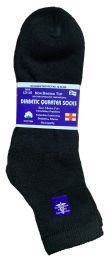 Yacht & Smith Men's Loose Fit Non-Binding Soft Cotton Diabetic Quarter Ankle Socks,Size 10-13 Black 6 pack