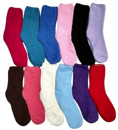 Yacht & Smith Women's Solid Colored Fuzzy Socks Assorted Colors Size 9-11 12 pack