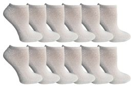 Socksnbulk Kids Cotton Quarter Ankle Socks In White Size 6-8 12 pack