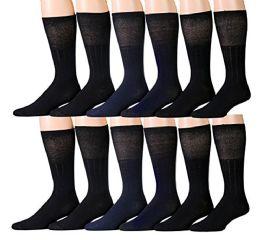 12 Pairs Unisex White Diabetic Socks For Neuropathy, Edema, Circulation, Comfort, By Socksnbulk (10-13, Black (diabetic Dress Socks))