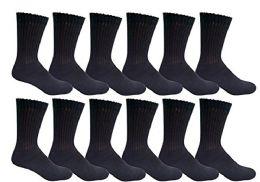 Yacht & Smith Women's Cotton Crew Socks Black Size 9-11 12 pack