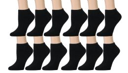 Yacht & Smith Kids Cotton Quarter Ankle Socks In Black Size 4-6 12 pack