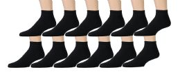 Yacht & Smith Men's Cotton Sport Ankle Socks Black Size 10-13 12 pack