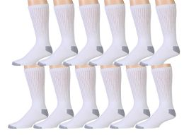 12 Pairs Of Wsd Mens Cotton Crew Socks, Solid, Athletic (white W/ Gray Heel & Toe)