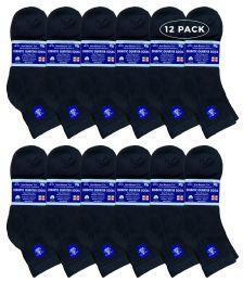Yacht & Smith Men's Loose Fit NoN-Binding Soft Cotton Diabetic Quarter Ankle Socks,size 10-13 Black