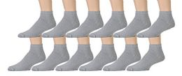 Yacht & Smith Men's Loose Fit NoN-Binding Soft Cotton Diabetic Quarter Ankle Socks,size 10-13 Gray 12 pack
