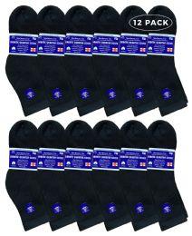 Yacht & Smith Women's Diabetic Cotton Ankle Socks Soft NoN-Binding Comfort Socks Size 9-11 Black 12 pack