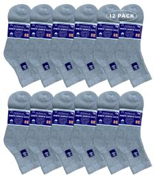 Yacht & Smith Women's Diabetic Cotton Ankle Socks Soft NoN-Binding Comfort Socks Size 9-11 Gray 12 pack