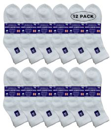 Yacht & Smith Women's Diabetic Cotton Ankle Socks Soft NoN-Binding Comfort Socks Size 9-11 White 12 pack