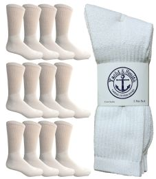 Yacht & Smith Men's King Size Cotton Crew Socks White Size 13-16 12 pack