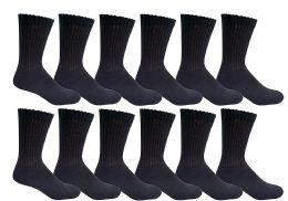 Yacht & Smith Women's Premium Cotton Crew Socks Black Size 9-11 12 pack