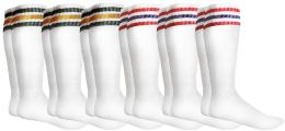 Yacht & Smith Men's Cotton Terry Tube Socks, 30 Inch Referee Style, Size 10-13 White With Stripes