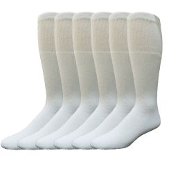 Yacht & Smith Men's 22Inch Cotton Tube Socks, Referee Style, Size 10-13 Solid White 6 pack