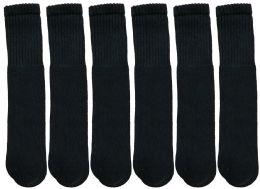 Yacht & Smith Kids Solid Tube Socks Size 6-8 Black 6 pack