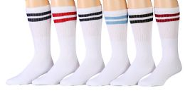 Yacht & Smith Women's Cotton Striped Tube Socks, Referee Style size 9-15 22 INCH 6 pack