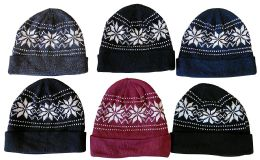 Yacht & Smith Unisex Snowflake Fleece Lined Winter Beanie 6 pack