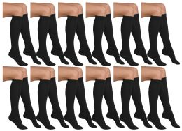 Yacht & Smith Girls Knee High Socks, Solid Colors Black 12 pack
