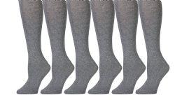 Yacht & Smith 90% Cotton Heather Gray Knee High Socks For Girls