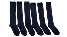 Yacht & Smith Girls Knee High Socks, Solid Colors Navy 6 pack