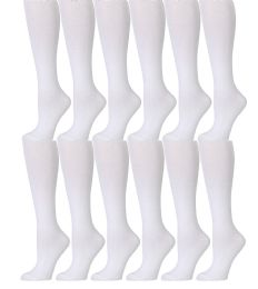 Yacht & Smith 90% Cotton White Knee High Socks For Girls 12 pack