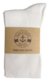 Yacht & Smith Womens Knee High Socks, Solid White 90% Cotton Size 9-11  6 pack
