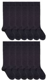 Yacht & Smith Womens Knee High Socks, Size 9-11 Solid Navy 12 pack