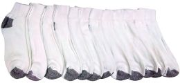 Yacht & Smith Kids Ankle Socks, Low Cut, Quarter Length, Size 4-6,white With Gray Heel And Toes 12 pack