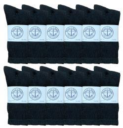 Yacht & Smith Mens Athletic Crew Socks , Soft Cotton, Terry Cushion, Sock Size 10-13 Black