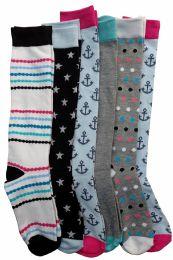 6 Pairs Of Mod And Tone Woman Designer Knee High Socks, Boot Socks (Pack F) 6 pack