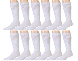 Yacht & Smith Mens White Extra Heavy Slouch Sock, Sock Size 10-13 12 pack