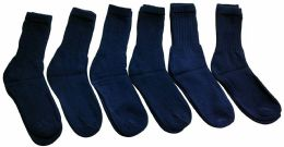 Yacht & Smith Men's Loose Fit NoN-Binding Soft Cotton Diabetic Crew Socks Size 10-13 Navy 6 pack