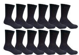 Yacht & Smith Men's Loose Fit NoN-Binding Soft Cotton Diabetic Crew Socks Size 10-13 Black
