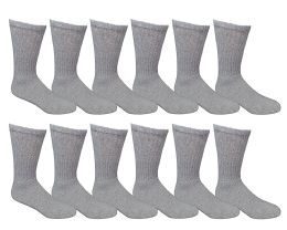 Yacht & Smith Men's Loose Fit Non-Binding Soft Cotton Diabetic Crew Socks Size 10-13 Gray 12 pack