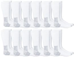 Yacht & Smith Mens Heavy Duty Steel Toe Work Socks, White Size 10-13