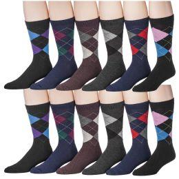 Yacht & Smith Men's Designer Pattern Dress Socks, Cotton Blend 12 pack