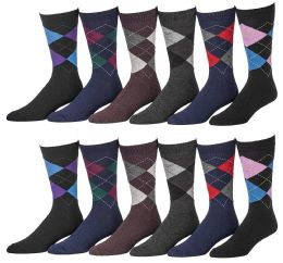 Yacht & Smith Men's Designer Pattern Dress Socks, Cotton Blend 12 pack