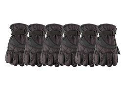 Yacht & Smith Mens Winter Warm Waterproof Ski Gloves, One Size Fits All Black 6 pack