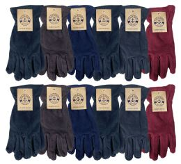 Yacht & Smith Mens Winter Fleece Gloves With Snug Fit Cuff 12 pack